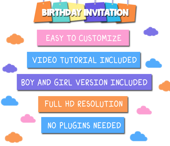 Kids video birthday invitation by getmotion videohive and you can make as many videos as you want with this project stopboris Image collections