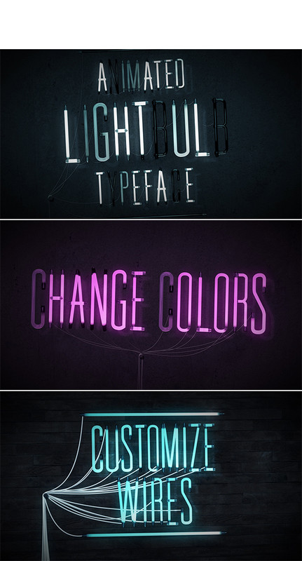 Animated Lightbulb Typeface - 3