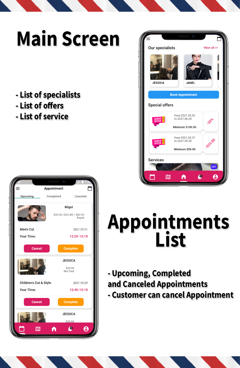 Single Barbershop, Salon Booking App - Full Flutter Application with Admin Panel (Android+iOS) - 3