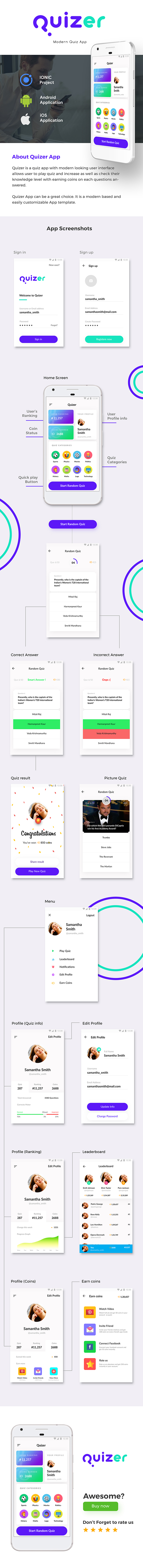 Quiz Android App Template + iOS App Template (HTML+CSS files IONIC 3) | | Quizer - 2