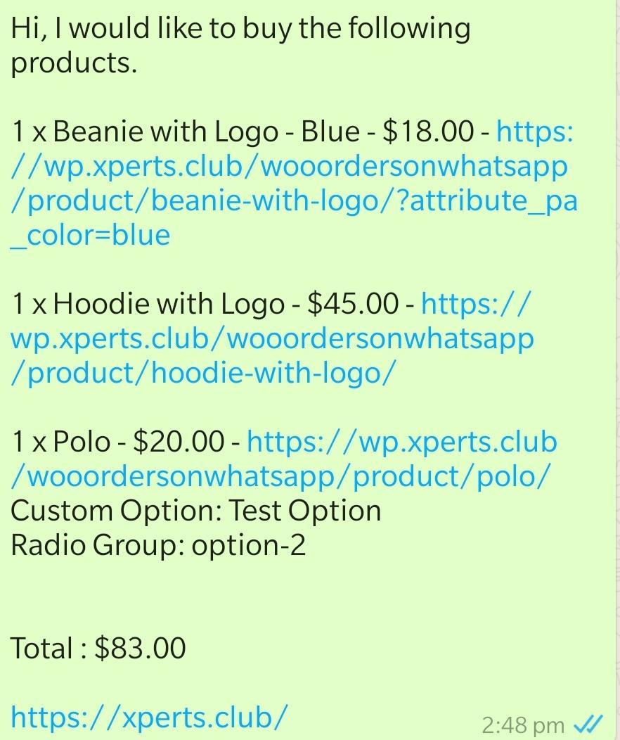 Woocommerce Orders on WhatsApp - 3