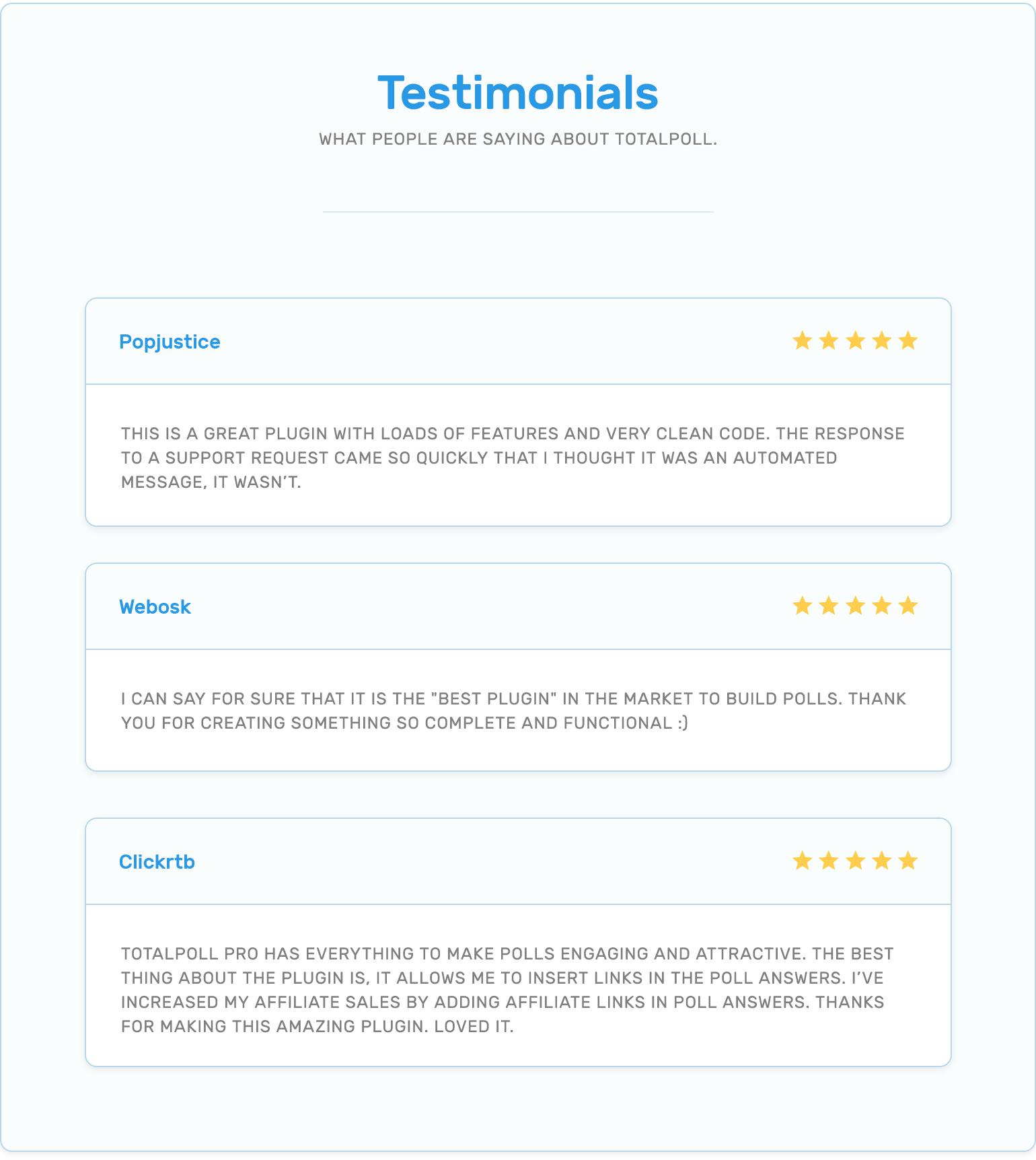 Testimonials of customers who used TotalPoll.