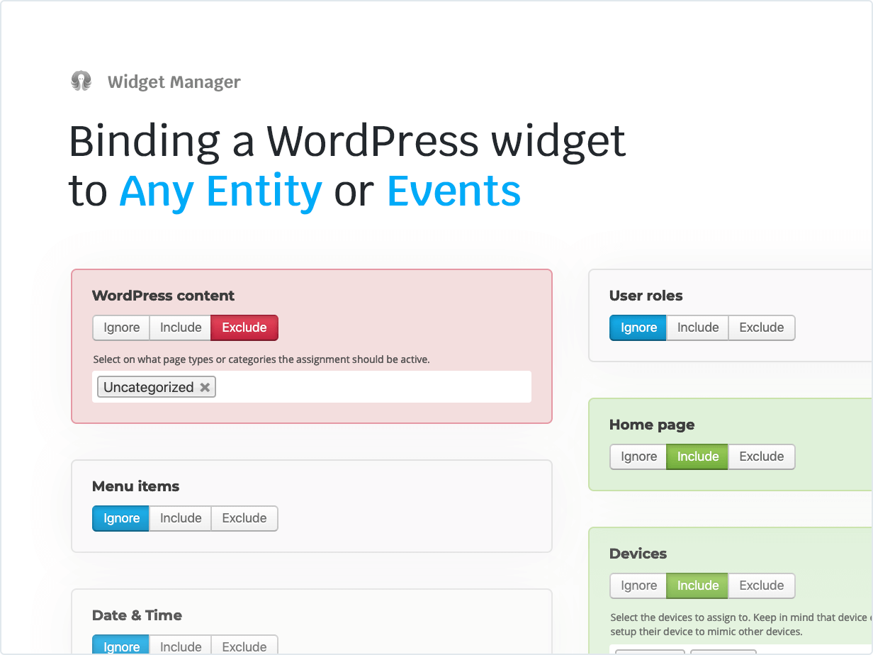 Binding a WordPress widget to Any Entity or Events
