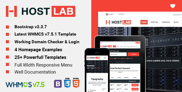 WHMCS + HostLab - Responsive Hosting Service With WHMCS Template - Hosting Technology