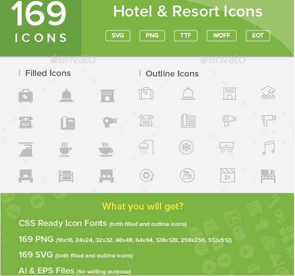 Flat Web Font Icons At Graphic River