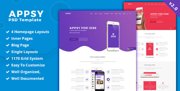 APPSY - App Landing Page PSD Template