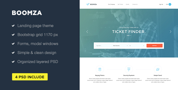 Boomza — Event Landing Page PSD Template