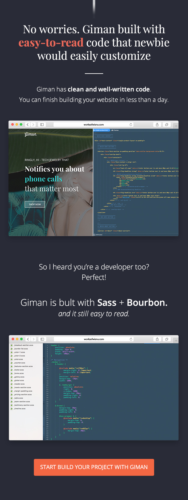 Giman is easy to read template built with Sass