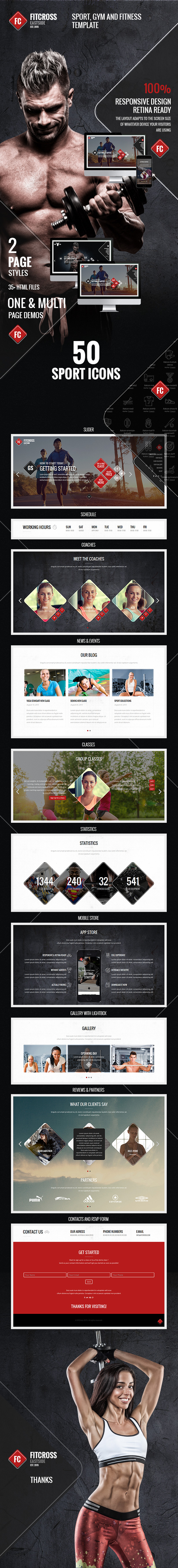 FitCross - Responsive Sport, Gym and Fitness Template - 1