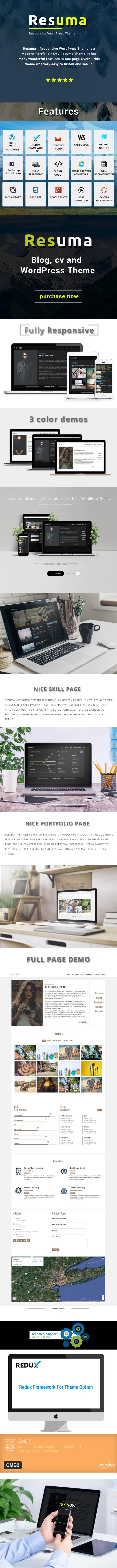 Resuma  - Resume Portfolio Responsive WordPress Theme - 1
