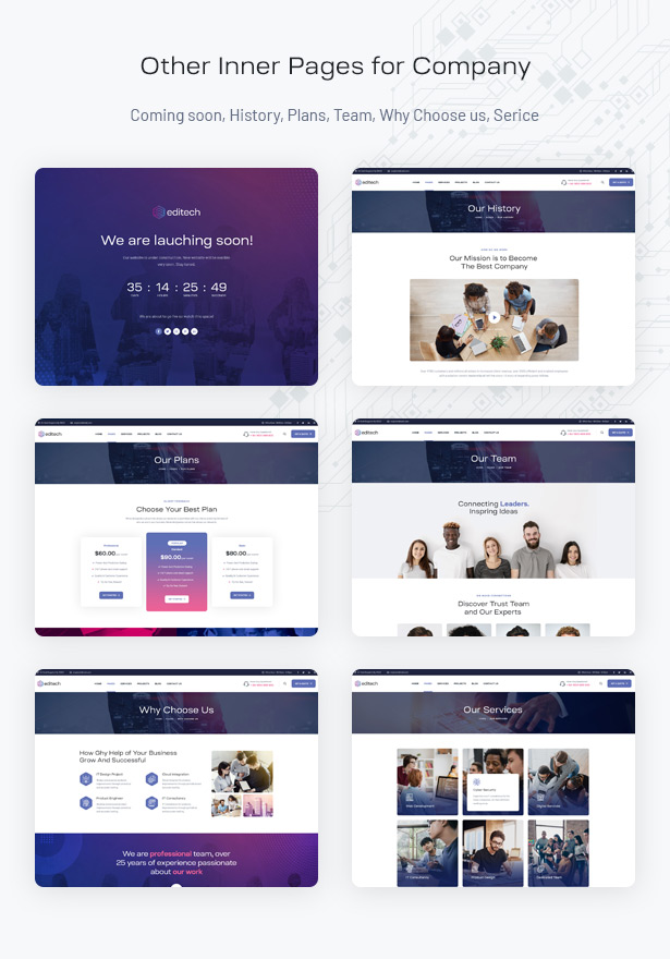 Editech Corporate Business WordPress Theme - Essential Inner Pages for Company