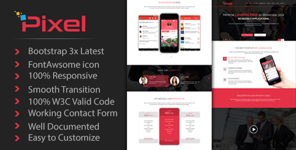 PIXEL - App Landing Page Template - Technology Landing Pages