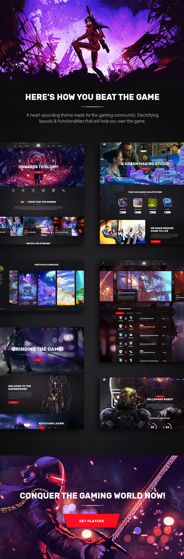 PlayerX - A High-powered Theme for Gaming and eSports - 1
