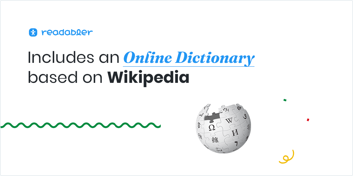 Includes an Online Dictionary based on Wikipedia