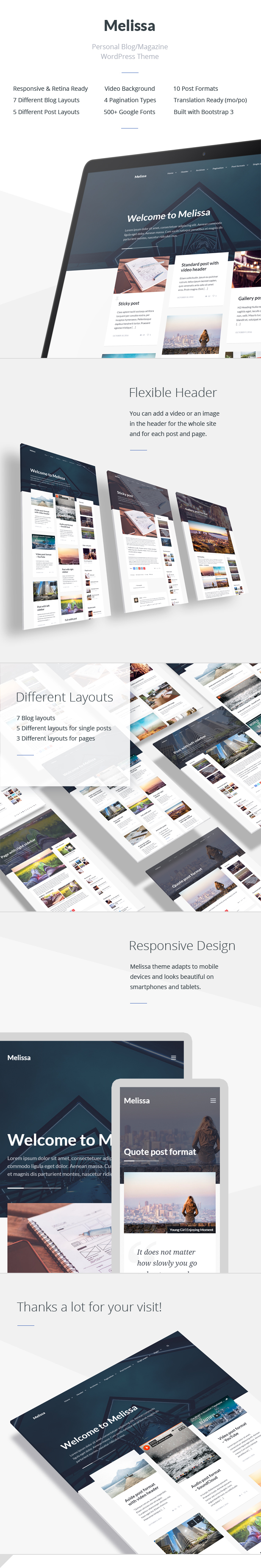 Melissa WordPress Theme - Features