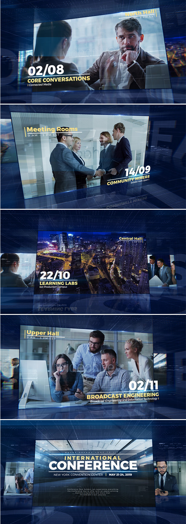 Event Promo After Effects Template for conference announcement, corporate video, technology presentation