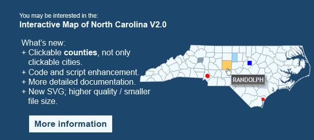 Interactive Map of North Carolina - Clickable Counties