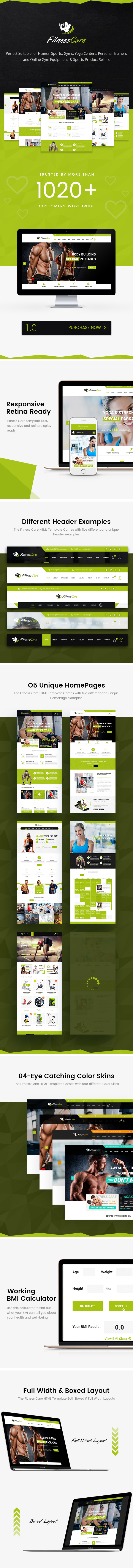 Fitness Care -  HTML5 Template for Sports, Gym, Yoga & Fitness Centers