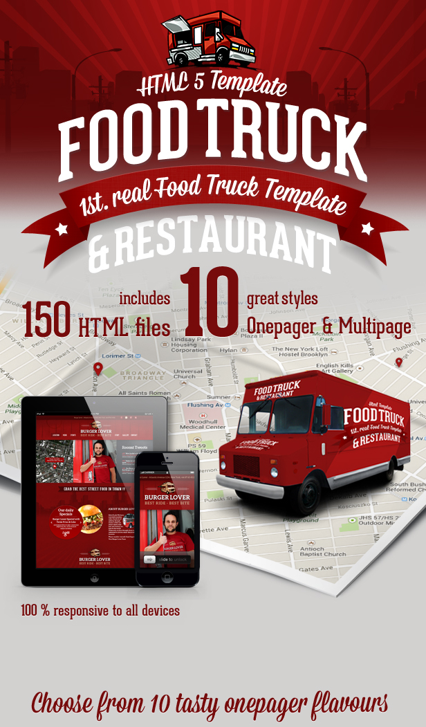 food truck restaurant 10 styles html5 template by createit pl