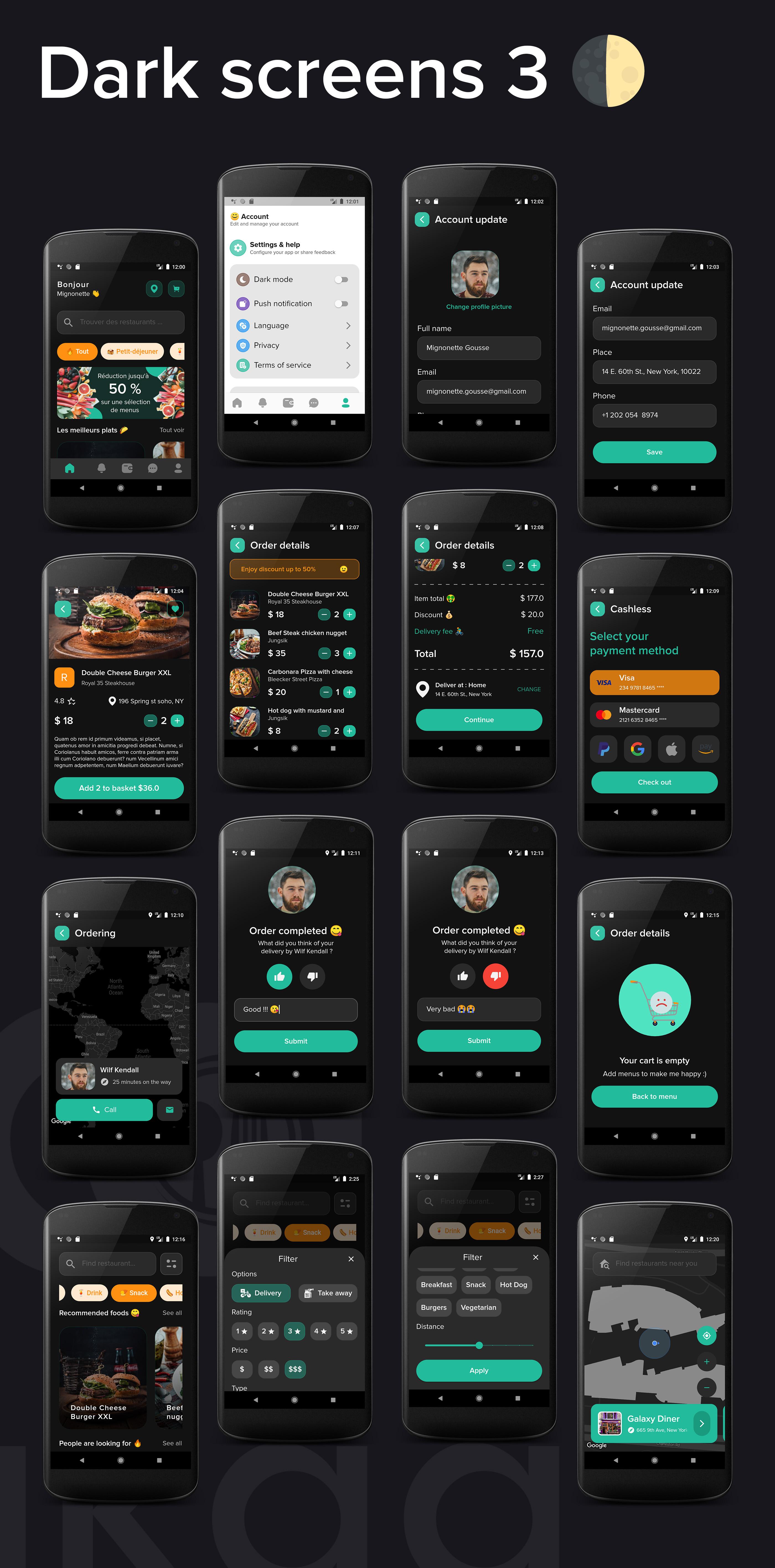 Lakaa food delivery app dark mode screens 3 - flutter ui kit design