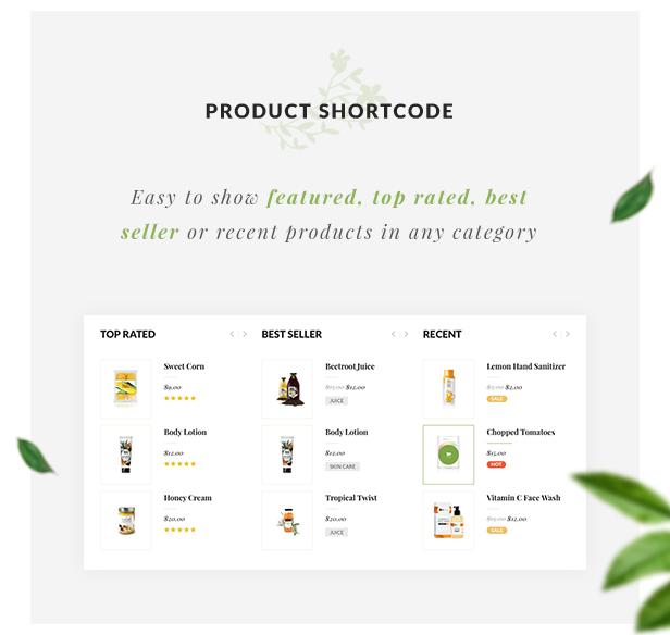 Organic Store WordPress theme - Product Shortcodes