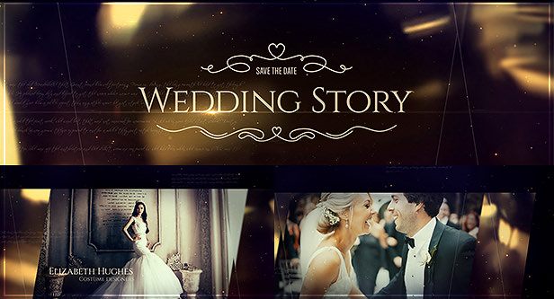 Elegant Golden Wedding Videography After Effects Template with golden bokeh lights and shimmering particles, perfect for majestic wedding film & beautiful love story