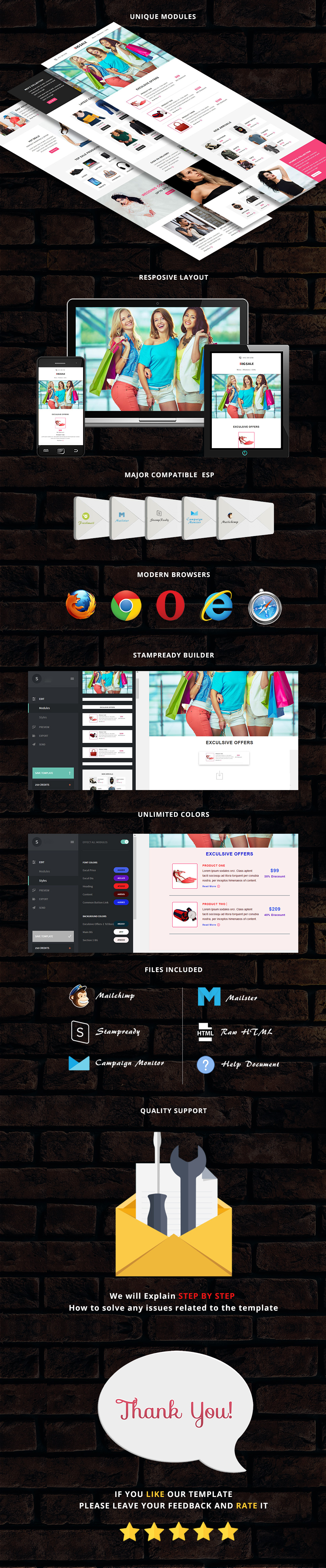 BigSale - Responsive Email Template + Stampready Builder