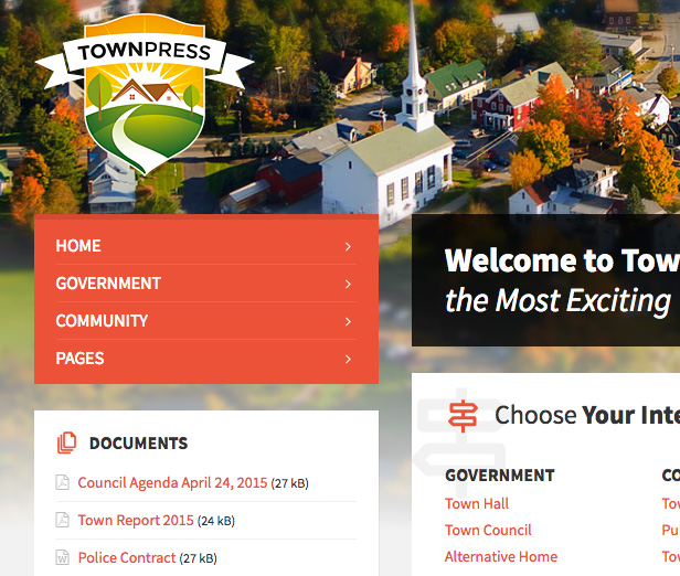 Detailed view of TownPress Header