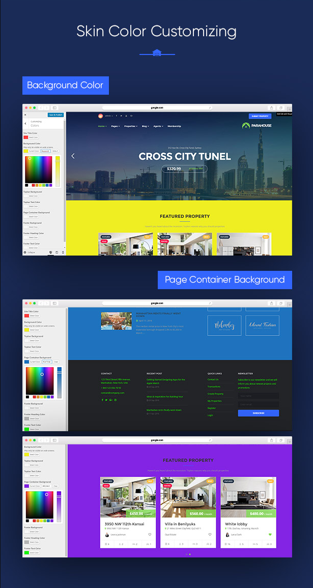 Unlimited Skin Color in Parahouse Real Estate WordPress Theme