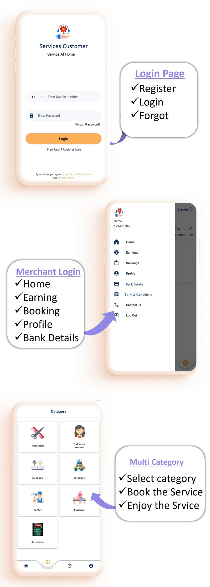 Quick Service App   Home Service   Home Cleaning   Multi Payment Gateways Integrated   Multi Login - 3