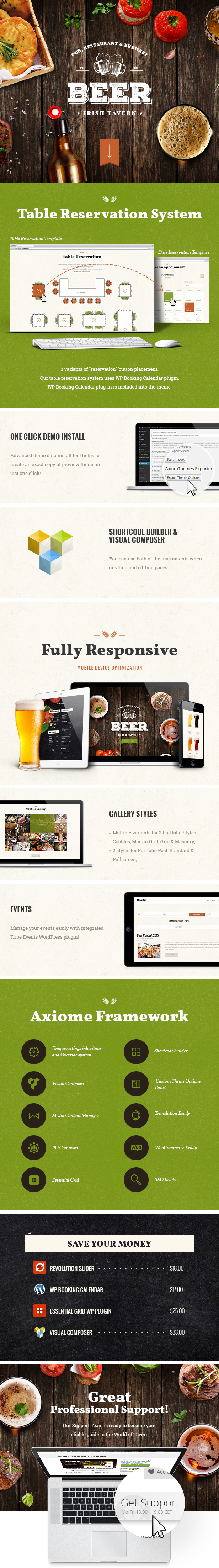 Tavern, Pub and Brewery WordPress Theme features