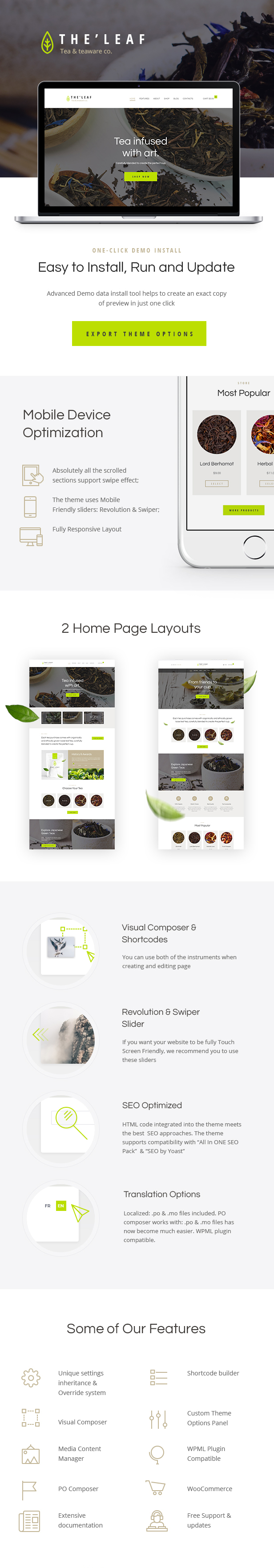 Tea Production Company & Online Coffee Shop WordPress Theme features