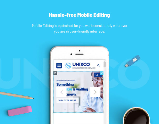 Consulting, Market Research WordPress Theme - Mobile Editing