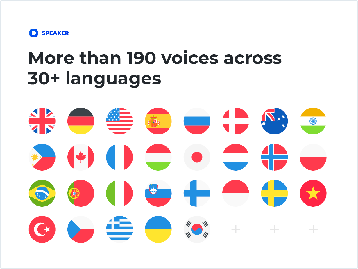 More than 190 voices across 30  languages