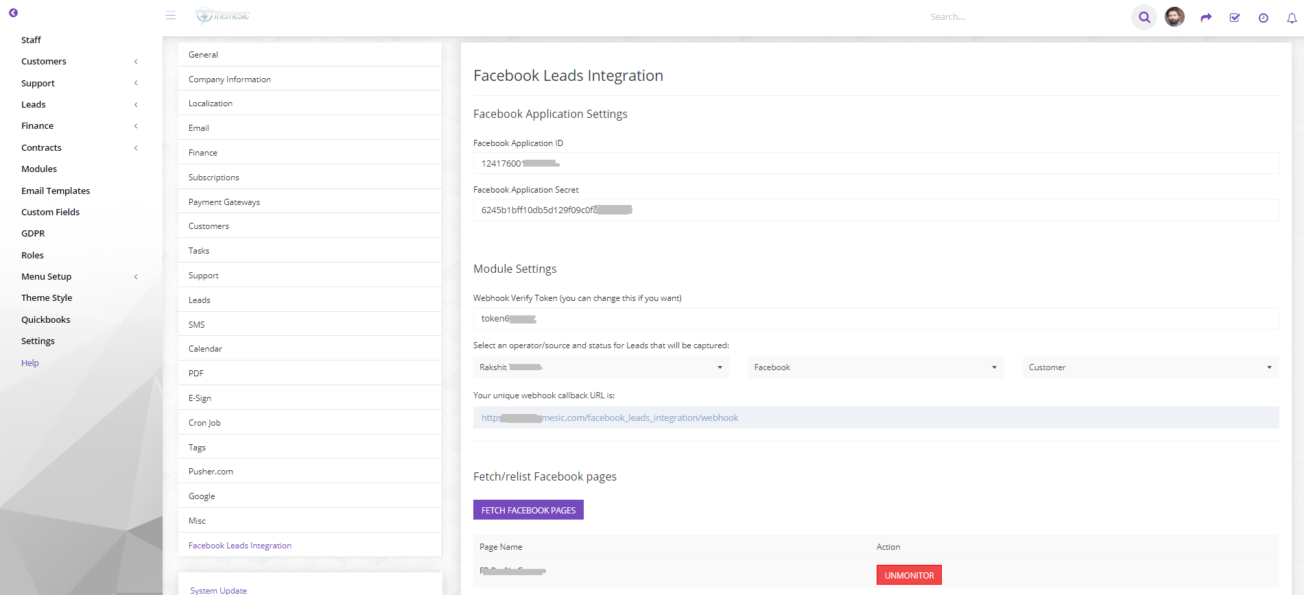 Facebook Leads integration module for Perfex CRM - 2