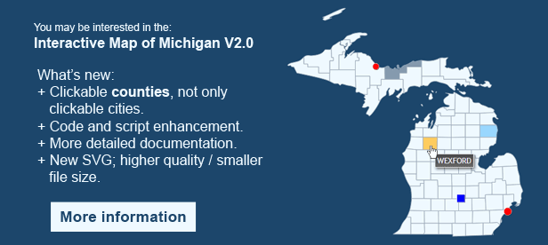 Interactive Map of Michigan  - Clickable Counties