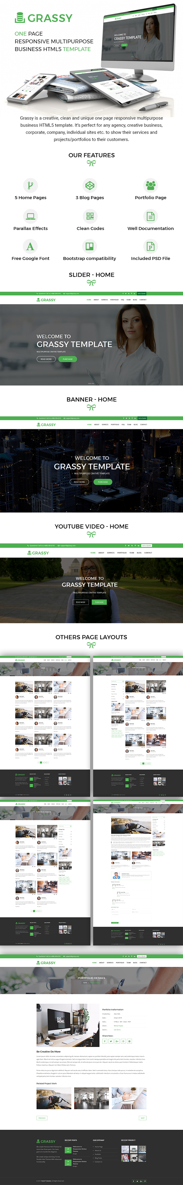Grassy Business - Business, Corporate and Finance One Page HTML5 ...
