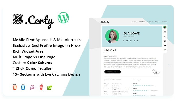 Certy - Online Resume / CV Template