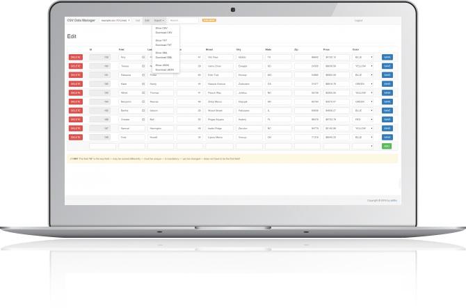 online CSV Editor - PHP CRUD - 1
