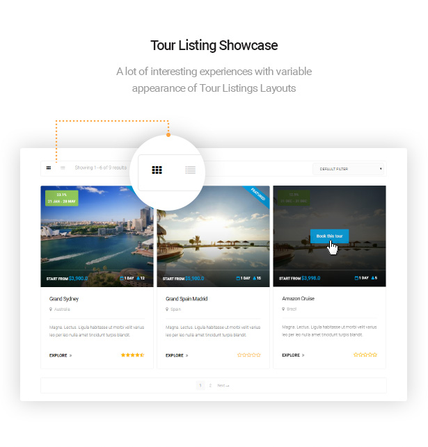 showcase tour listings with Delux online Hotel Booking WordPress Theme