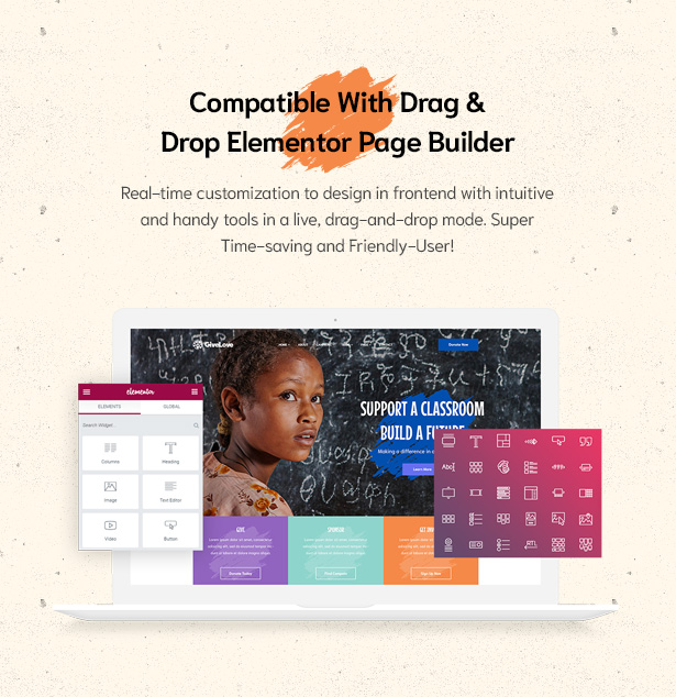 Drag & Drop Elementor Page Builder in Givelove Non Profit Charity & Crowdfunding WordPress Theme