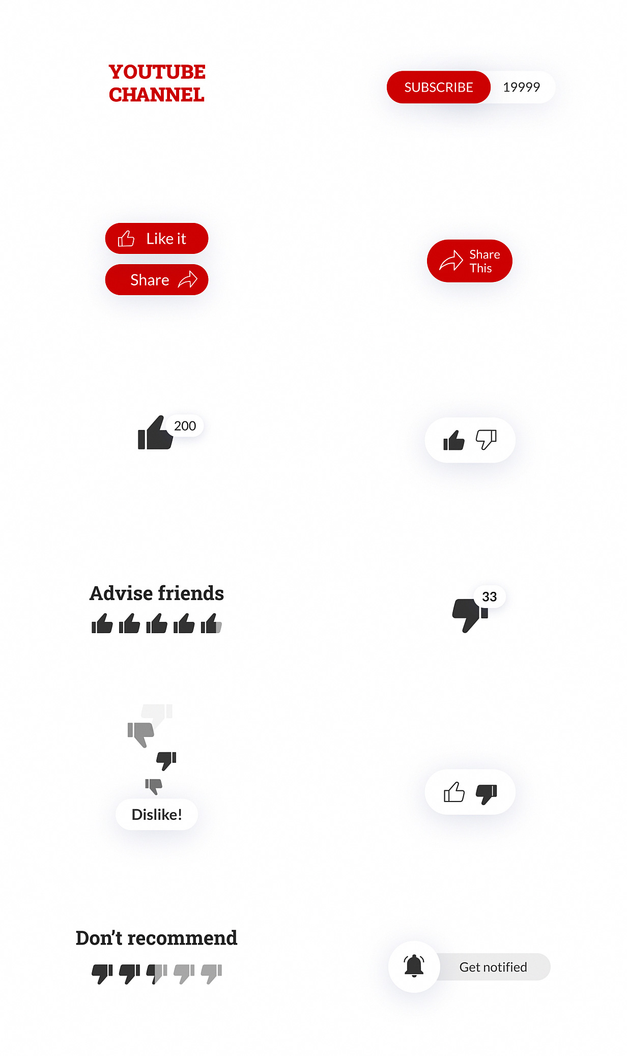YouTube Buttons Pack - 16