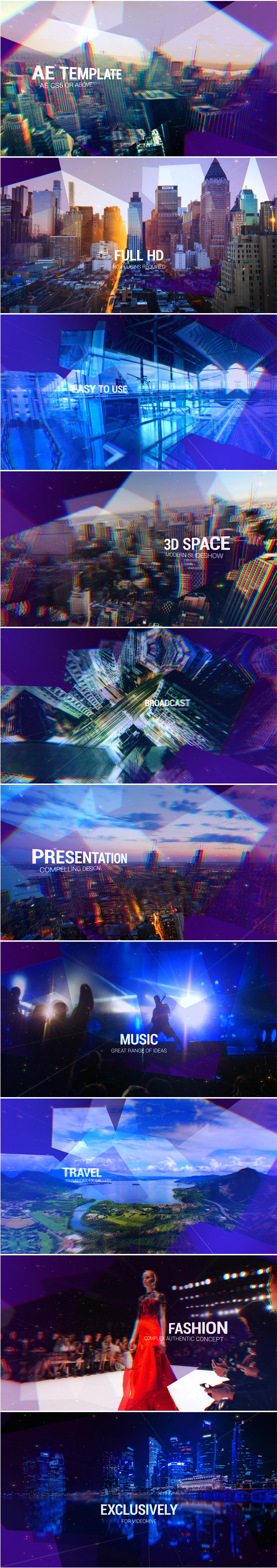 Slideshow Diamond Titles After Effects Template