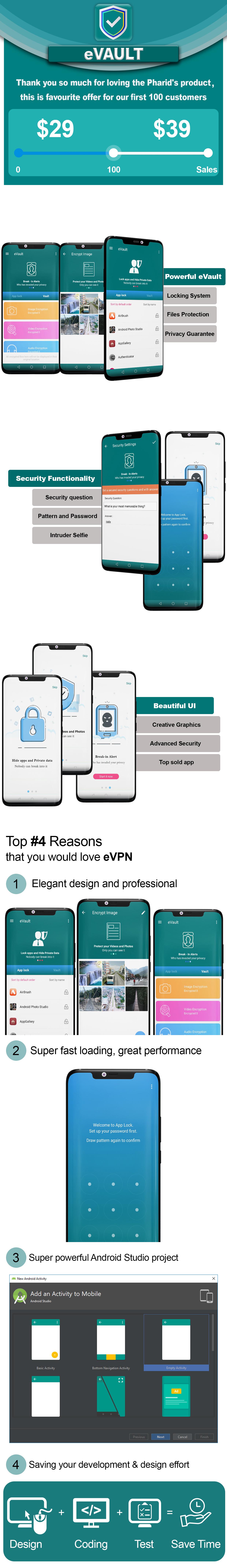 eVault - Hide Pics, Videos with AppLocker | Beautiful UI, Ads Slider, Admob, Push Notification - 5