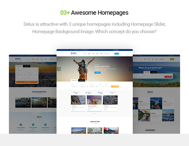 multiple homepage layouts of Delux online Hotel Booking WordPress Theme