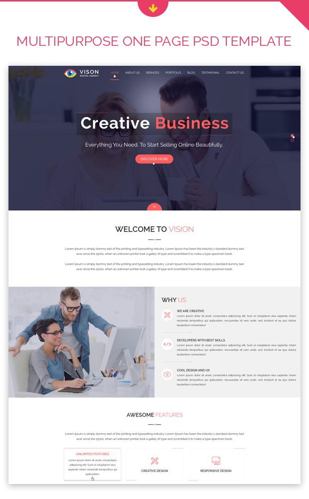 Vision Digital Agency – Corporate One Page PSD Template