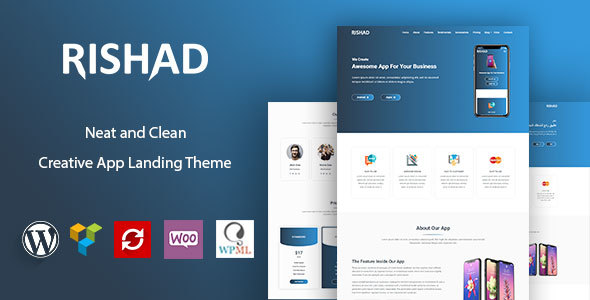 Rishad - App Landing WordPress Theme + RTL - Software Technology