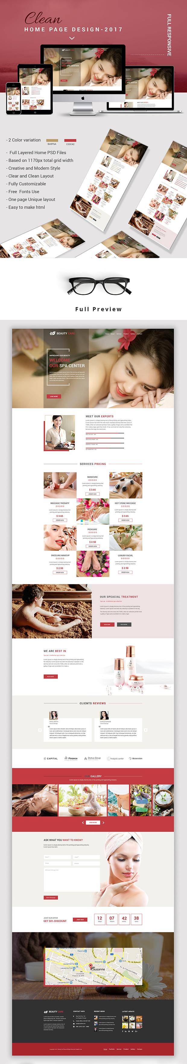 Spa Care - Spa, Salon, Beauty PSD Template - 1