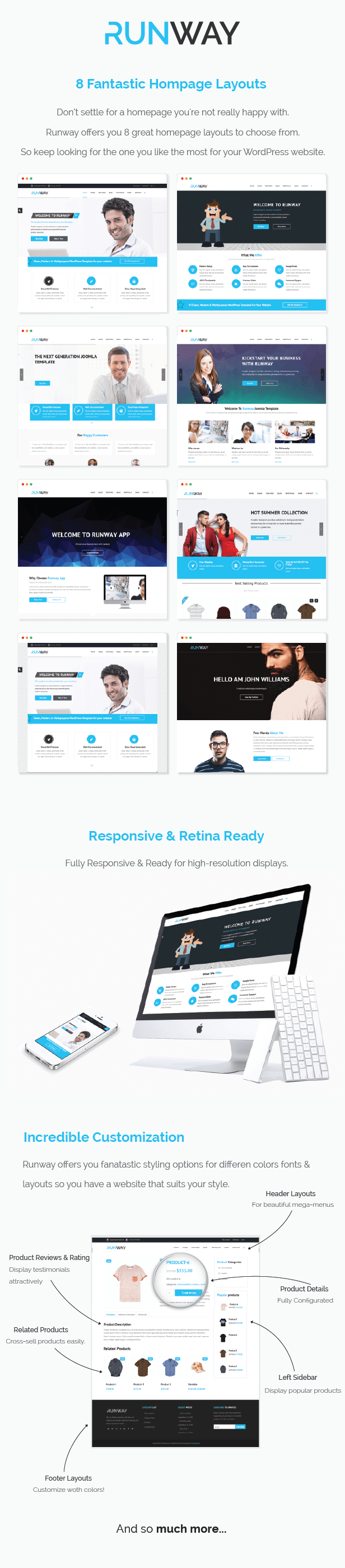 Runway WordPress Theme features