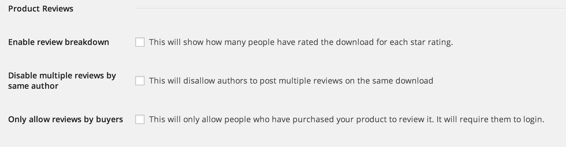 Reviews Settings
